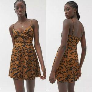 UO Animal Print Satin Surplice Mini Dress